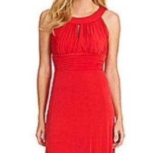 SANGRIA Red Formal Party Short Gown Dress Keyhole